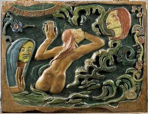 panneau bois de Gauguin portant l'injonction: soyez mystérieuse